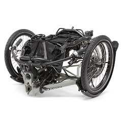 View of a folded Kettwiesel Evolution recumbent trike