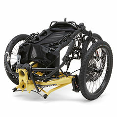 Kettwiesel Cross Steps recumbent trike folded for easy transport
