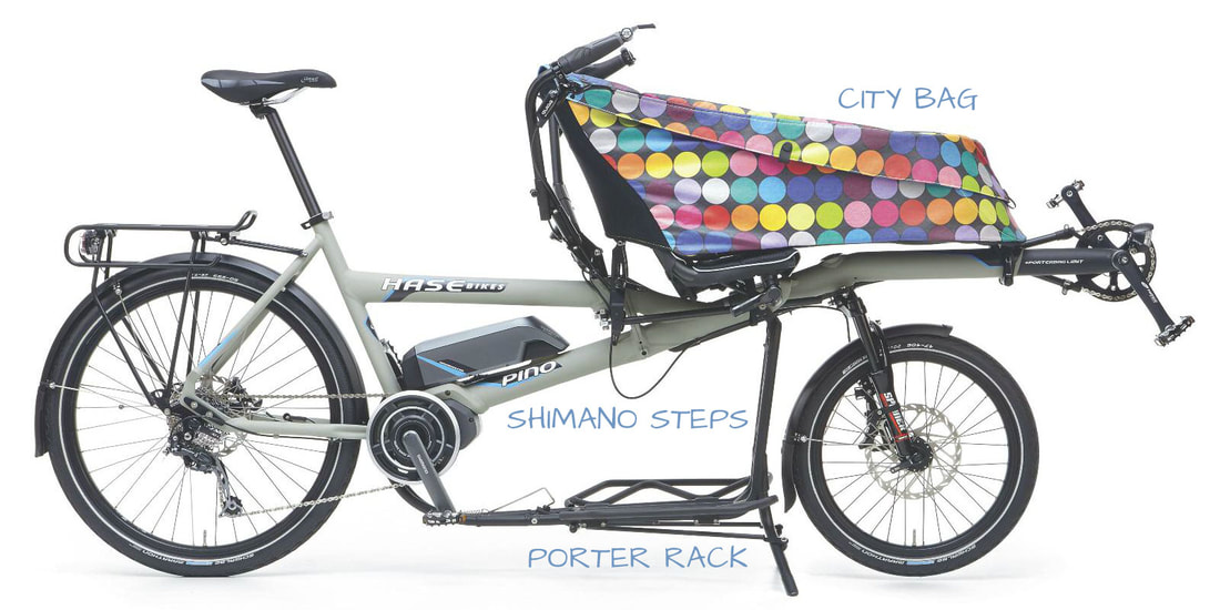 HASE PINO cargo bike with city bag, porter rack and shimano steps motor