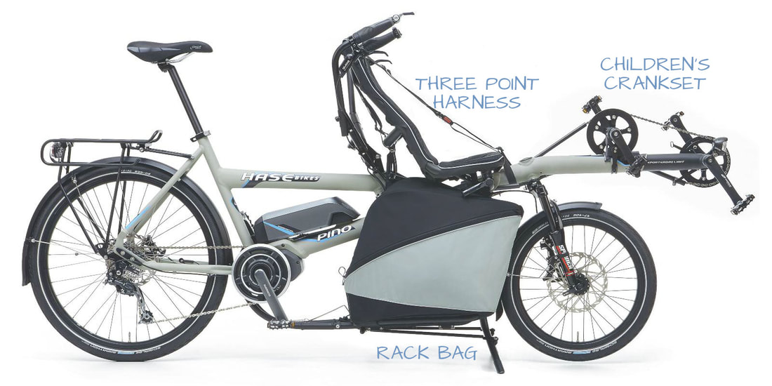 HASE PINO tandem bike with children's crankset, three point harness and rack bag