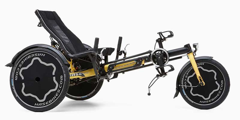 Side view of the Hase TRIX recumbent trike for kids