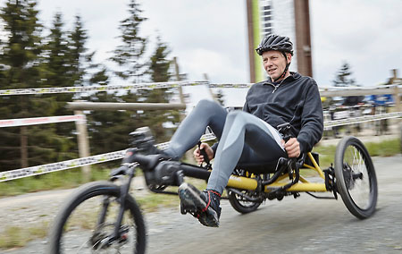 Gunther riding a Kettwiesel Kross off-road recumbent trike
